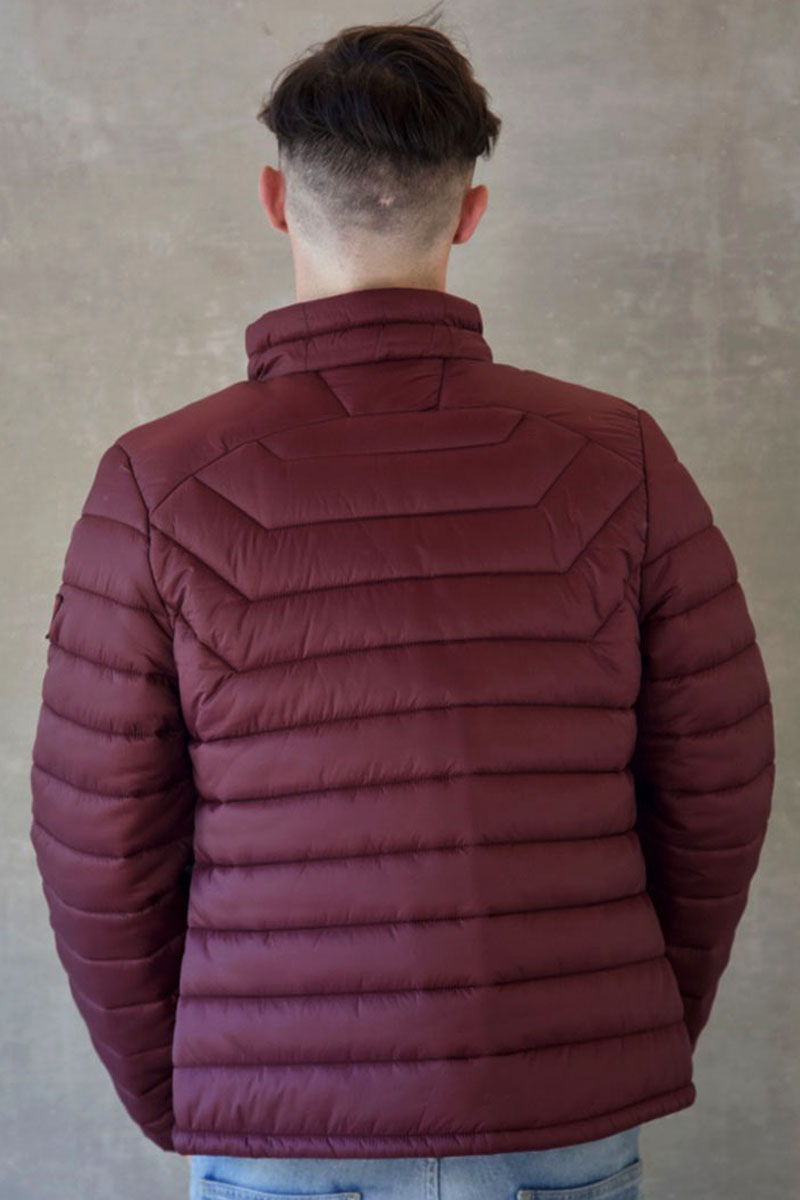 8a57f4200 Mens Burgundy Wine Short Puffer Jacket Without Hood